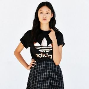 RARE Adidas Black Rosegold Double Logo Trefoil Tee